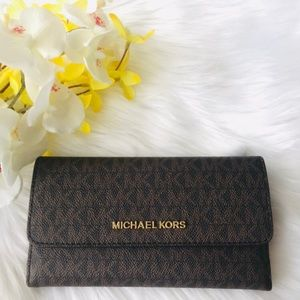 MICHAEL KORS LARGE TRIFOLD WALLET BROWN ACORN